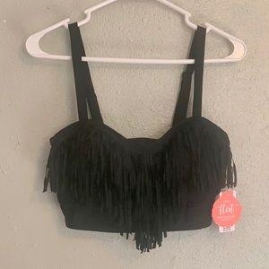 Torrid Black Fringe Bikini Top